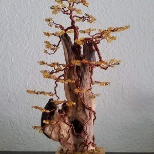 Driftwood Bonsai Sculpture Beaded CopperWire Tree